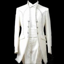 Модный дизайн, мужской свадебный приталенный костюм, смокинг на заказ, белый классический комплект из 2 предметов(пиджак+ брюки+ бант+ пояс