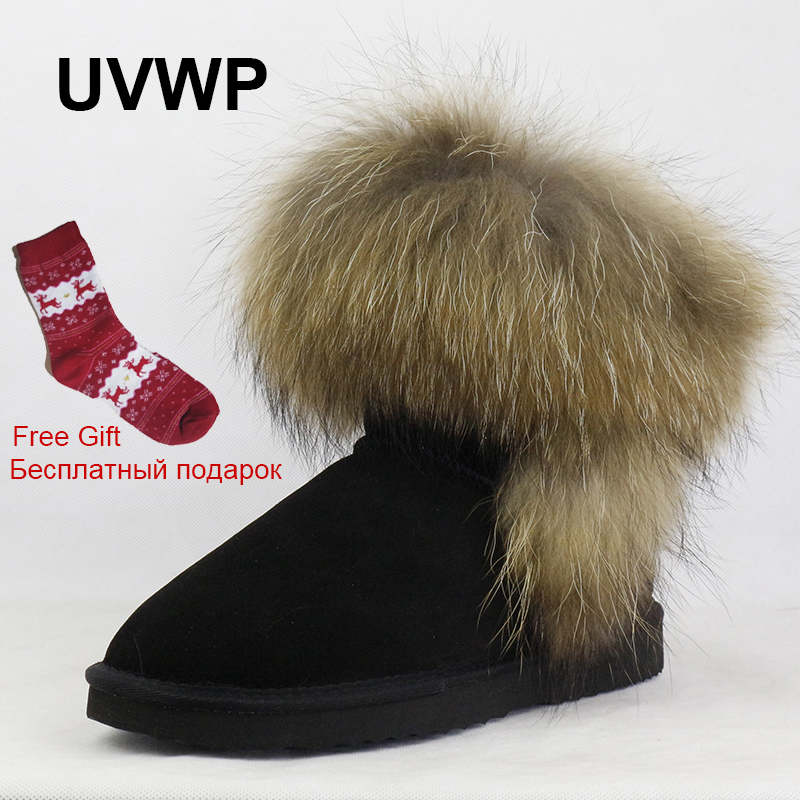 UVWP High Quality Women Natural Real Fox Fur Snow Boots Genuine Leather Fashion Women Boots Warm Female Winter Shoes Free Ship