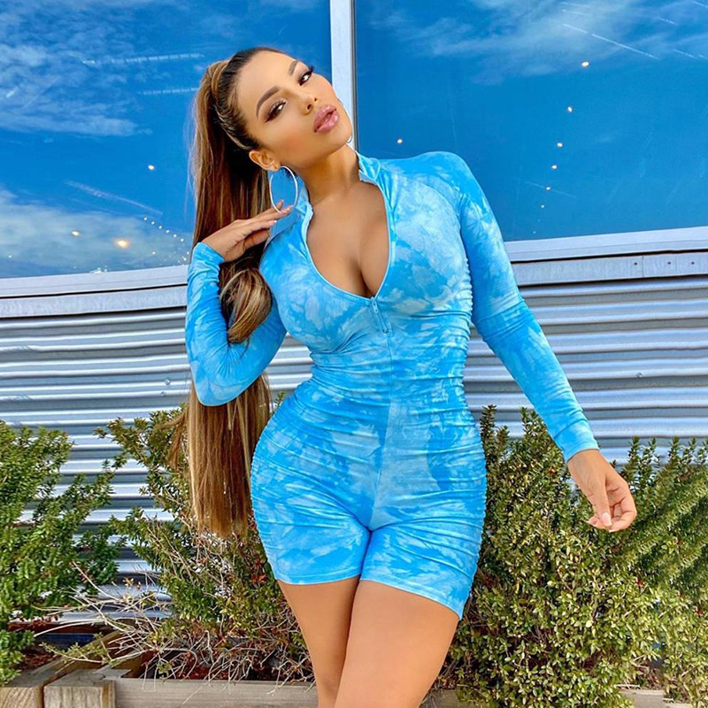 Brief Ruched Playsuit Front Zipper V Neck High Waist Long Sleeve Jumpsuit Sportswear Stretchy Leggings Fitness Mujer Rompers