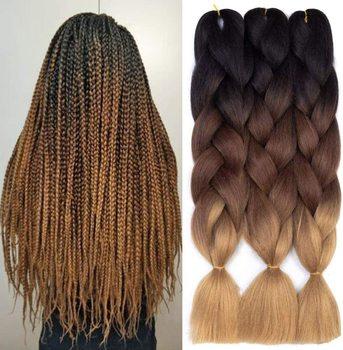 цена на 24 inch Kanekalon Braiding Hair Synthetic Braid Hair Extensions High Temperature kanekalon jumbo braid extension hair