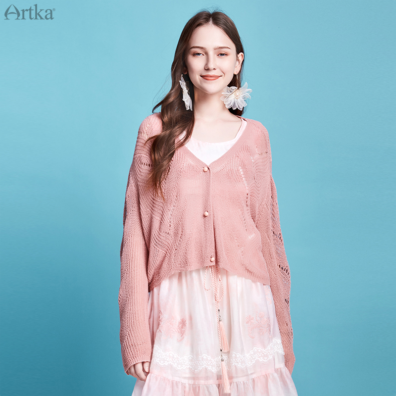 ARTKA 2020 Spring New Women Knitwear 3 Colors Elegant Long Sleeve Thin Sweater V-Neck Loose Hollow Out Cardigan Women WB20105C
