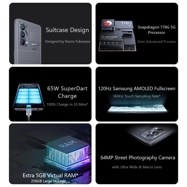 "Global Version realme GT Master Edition 6.43"" Smartphone Snapdragon 778G Octa-core 128GB/256GB 120Hz Super AMOLED Super Dart 65W 2"