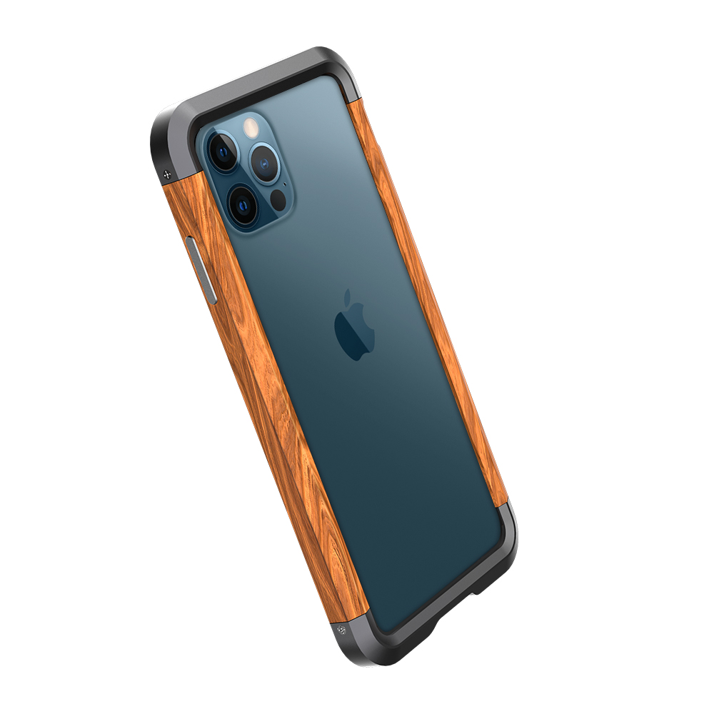 Wood Metal Phone Case For Iphone 12 Luxury Aluminum Slim Natural Wood Bumper Case For Iphone 12 Pro Max 12 Mini Cover