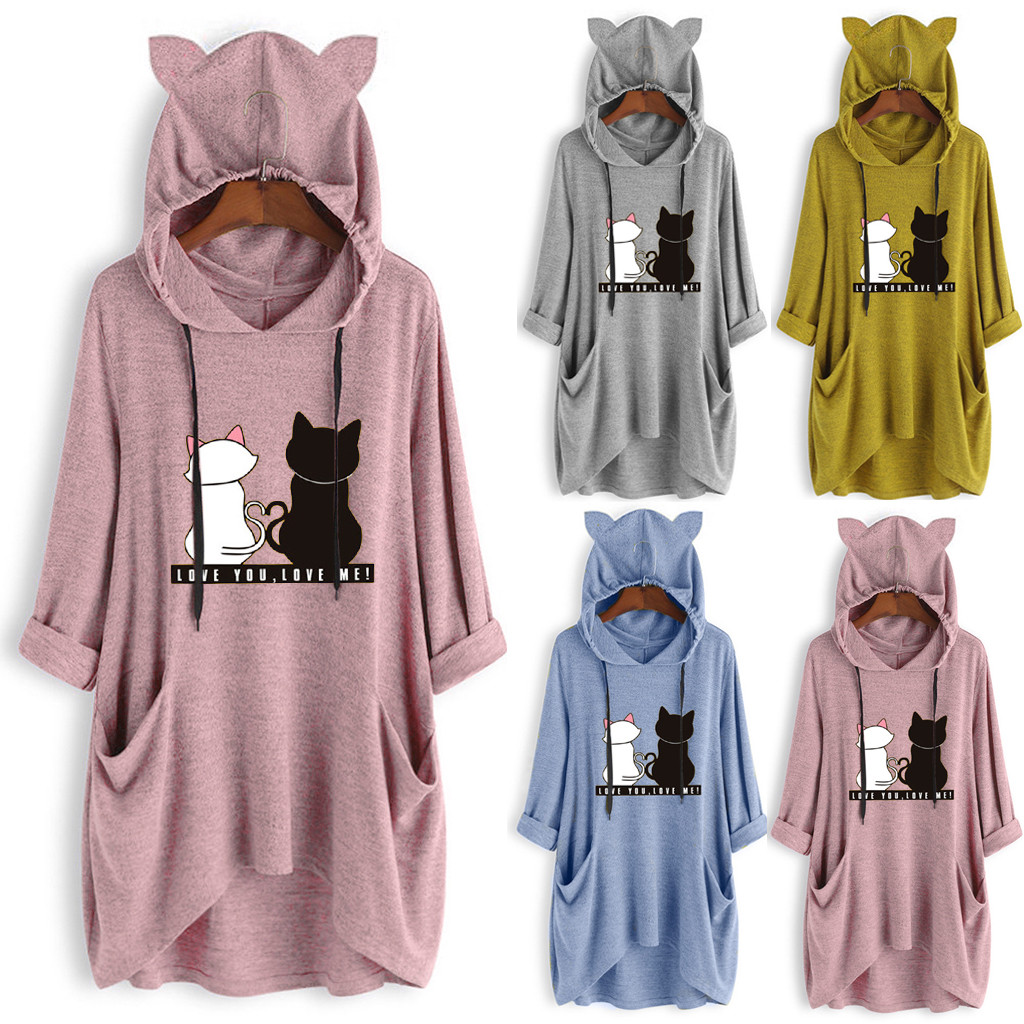 DIOMOR Womens Casual Pure Color Cat Ear Fleece Hoooded Tunic Button Down Plus Size Cute Cat Hoodie Warm Coat Outerwear