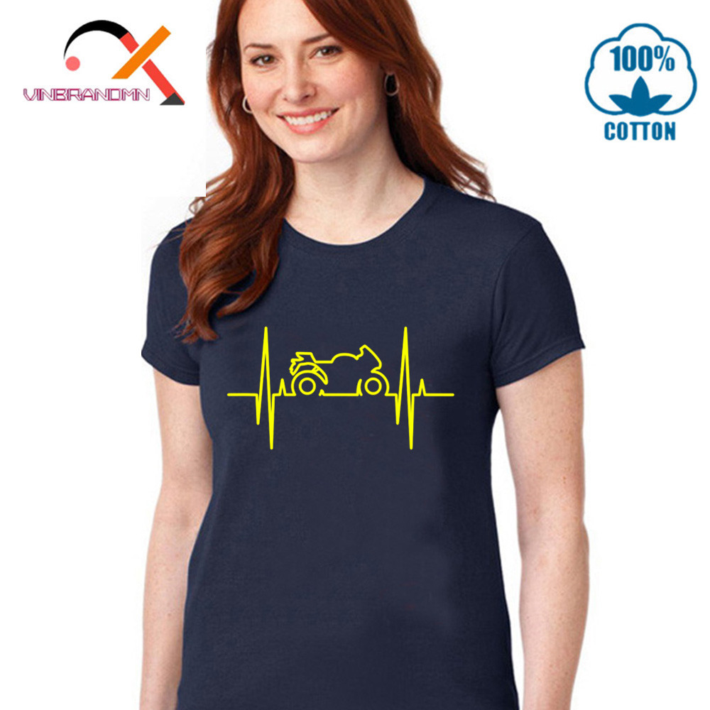Comic Electromoto heartbeat T shirts Woman Motorcycle electric pulse funny T-shirt Casual motocross Tees youth new brand apparel