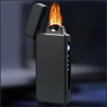 Electronic USB Big Flame Lighter Pulse Windproof Double Arc Electric Lighters Plasma Flameless