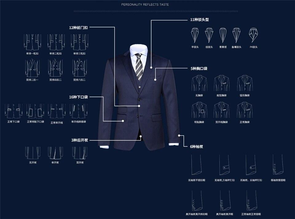 Мужской костюм, розовый с черным, костюмы с лацканами для мужчин, на заказ, Terno, тонкий, для жениха, на заказ, 3 предмета, для свадьбы, Masculino (пиджак + брюки + жилет) - 6