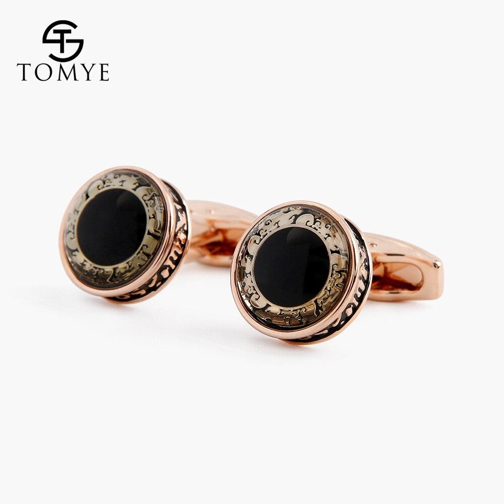 TOMYE Gold Vintage Unique Black Enamel Eye Fancy Bulk Cufflinks Studs Men XK19S128