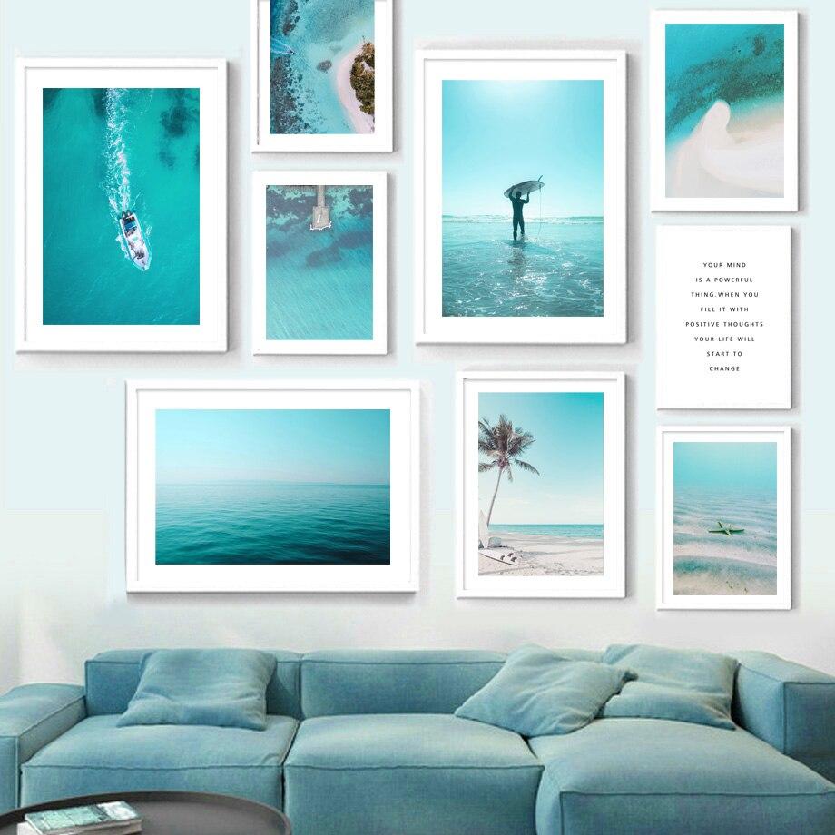 Deniz dalga plaj sörf tahtası iskele tekne tırnak duvar sanatı tuval yağlıboya İskandinav posterler ve baskılar duvar resimleri için oturma odası dekor