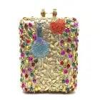 Bolso de noche de boda para mujer, bolso de mano redondo, bolso bandolera para fiesta, bolso de mano de oro rosa