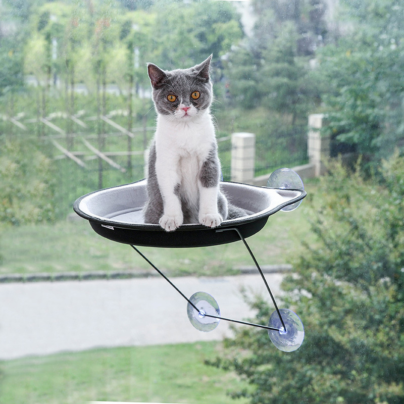 Pet Supplies Fashion Color Windowsill Cat Feeding Bowl Hanging Sucker Cat Window Hanging Pot Cat Hammock