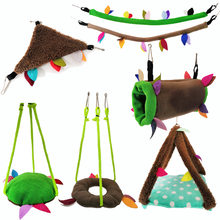 bird toys Pet Leaves Toys6Set Parrot Cotton Nest Hanging Chain Swing Cableway Cylinder Drill Tube Channel Hammock Bed(China)