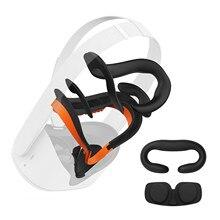 Para oculus quest 2 vr respiradouro facial suporte de interface suave & anti-vazamento de luz de espuma de couro do plutônio capa de rosto conjunto de almofada (7 em 1)