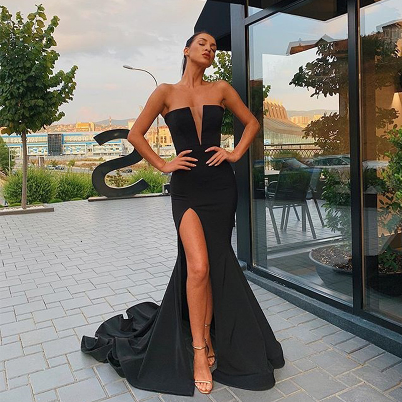 BacklakeGirls Sexy Deep V Neck Split Side Strapless Evening Dress Satin Sleeveless Mermaid Prom Dresses 2020 Vestidos De Fiesta