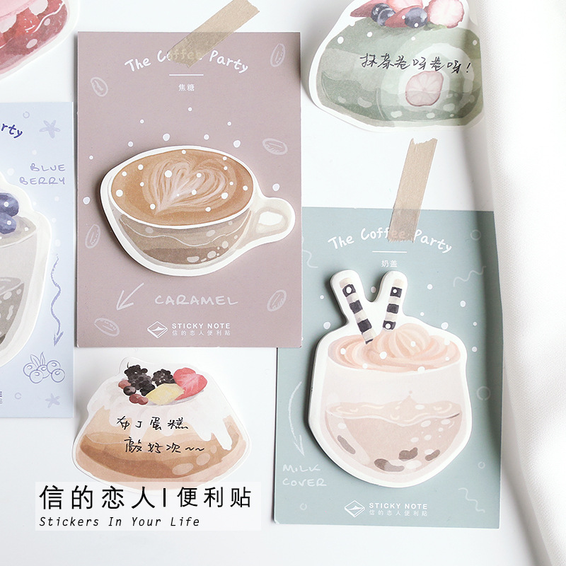 30sheets/pack Yummy Dessert Coffee Kawaii Planner Sticky Memo Pad Notes Bookmark Mini Notepad Kawaii Stickers
