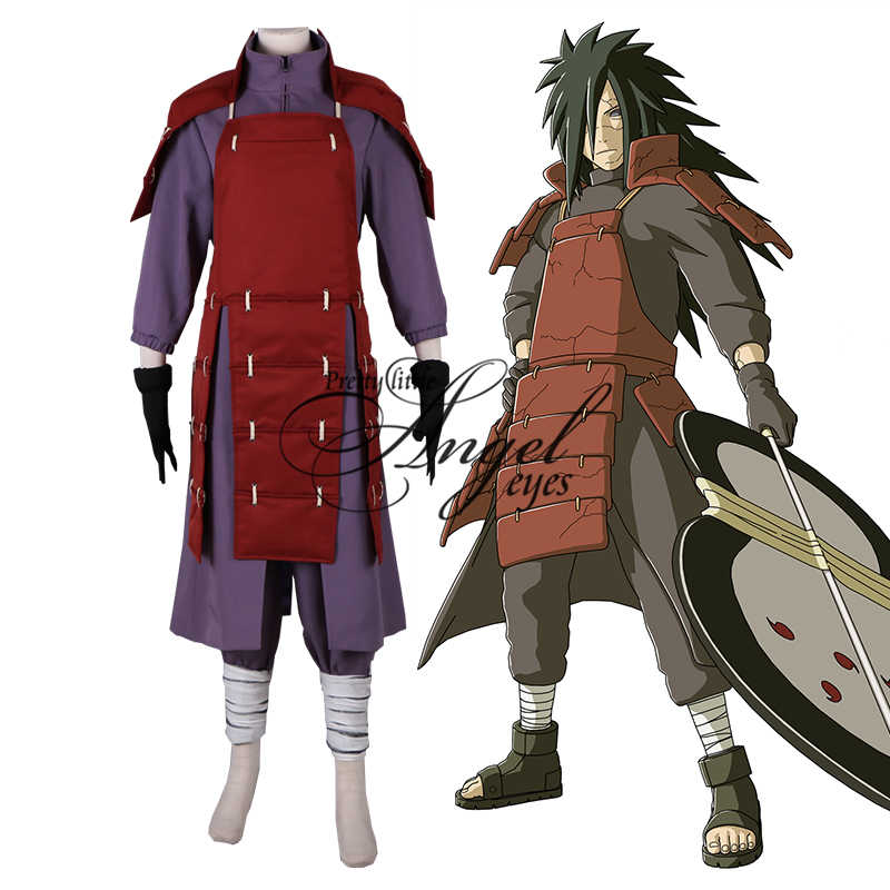 Anime Naruto Uchiha Madara Cosplay Pertempuran Suit Pesta Halloween Ninja Full Set Kostum Custom Made
