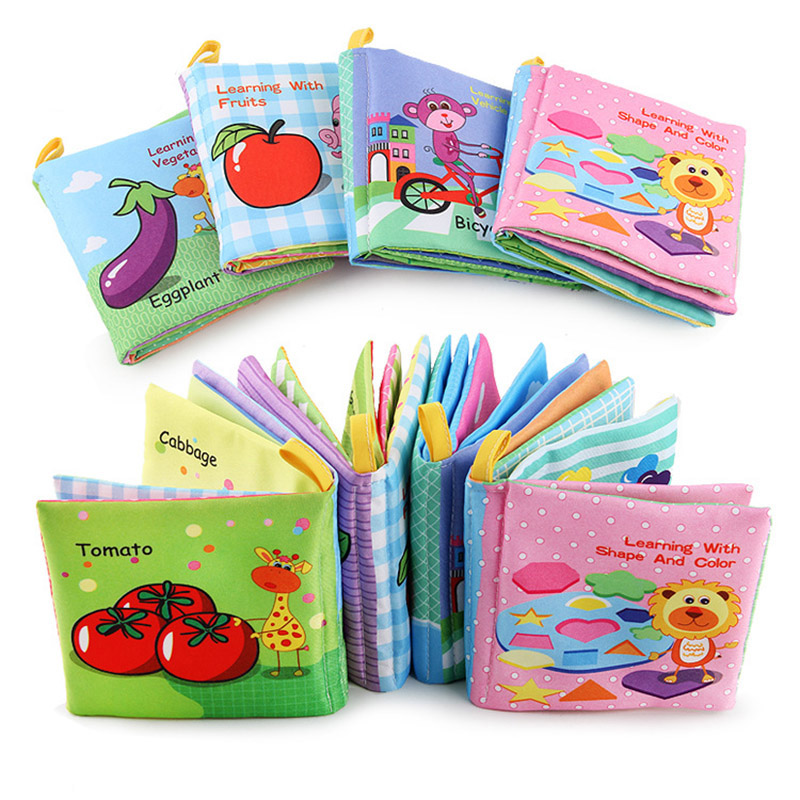 Baby Books Cartoon Design Soft Fabric Cloth Book Toddlers Early Learning Cognitive Reading Words Ring Paper Quiet Book Baby Toy