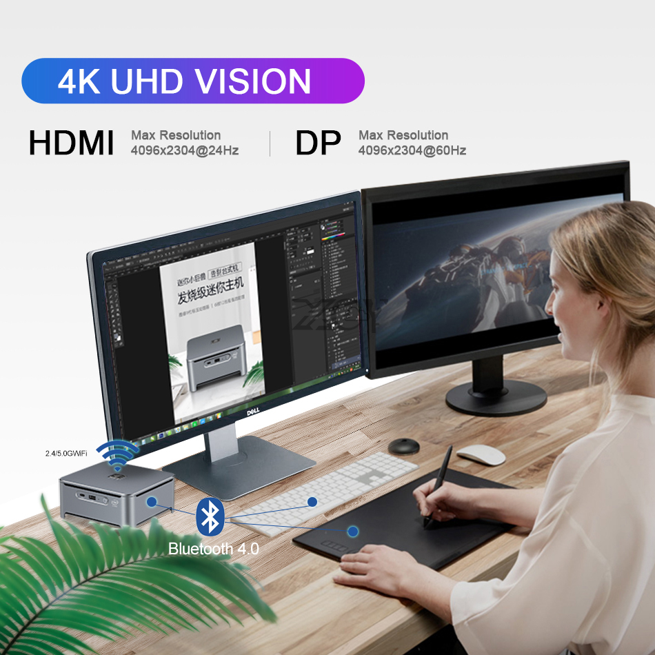 Intel Core Mini PC i9 10880H DDR4 M.2 NVMe SSD HDMI DP 4K UHD 5*USB Type-C 2.4G/5.0G WiFi Bluetooth 4.0 Windows 10-5