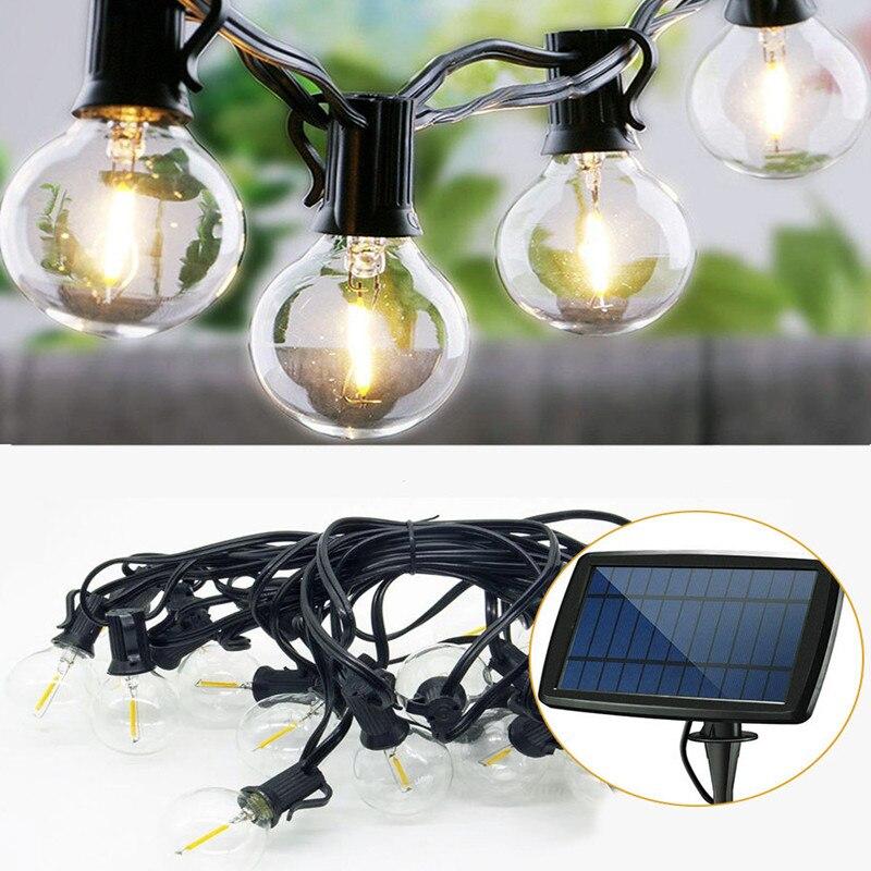 7.6M 25 LED Solar Light String Outdoor G40 Bulb Globe String Lights For Indoor Outdoor Light Decoration For Garden Patio Party
