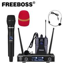 Freeboss FB U35H 듀얼 웨이 UHF 고정 주파수 무선 마이크 시스템, 휴대용 + 옷깃 + 가라오케 마이크 용 헤드셋