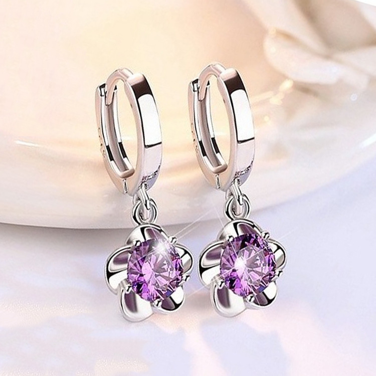 Cute Female Purple Crystal Stone Earrings Charm Silver Color Hoop Earrings Trendy Round Zircon Flower Wedding Earrings For Women