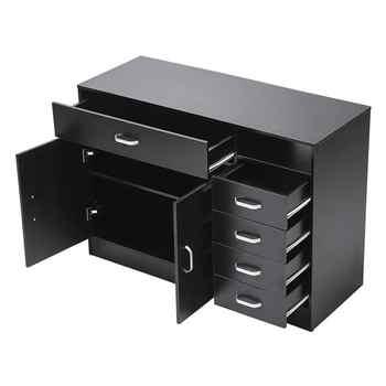 MDF & Galvanized Iron Rectangular 7 Compartments 5 Drawers 1 Door Hair Salon Cabinet Black Color