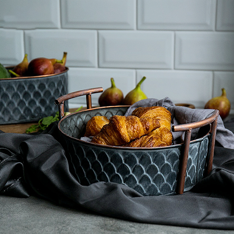 Antique Retro Round Iron Basket with Handle Handcrafted Vintage Metal Fruit Bread Tray Plate Home Decoration Table Photographing|Dishes & Plates|   - AliExpress