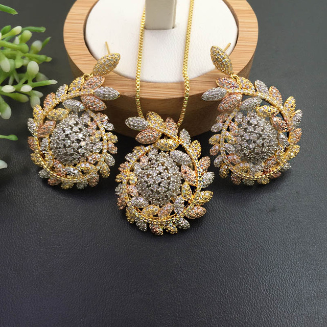 Lanyika Jewelry  Distinctive Fortunate Hopeful Of Wheat  Plated Necklace with Earrings Wedding Engagement Popular Best Gifts