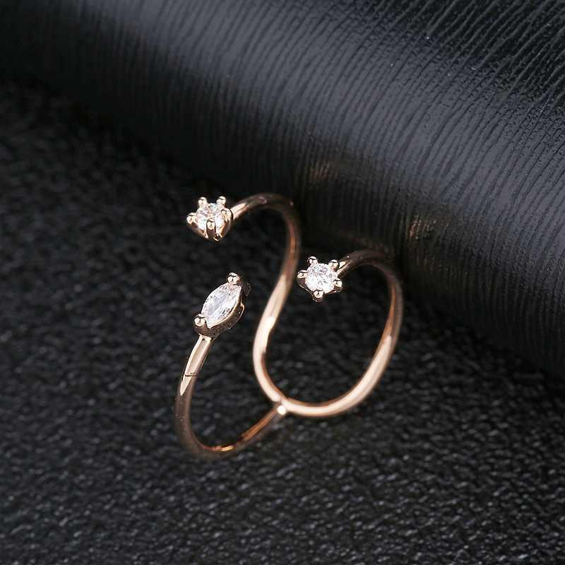 MIGGA Einzigartige Design Geometrische Frauen Ring Rose Gold Farbe Öffnung Cubic Zirkon Ring Partei Schmuck