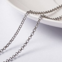 20m/roll 2x0.8mm Unwelded 304 Stainless Steel Cable Chain with Spool for Jewelry Making DIY Necklace Finding Handmade Supplies