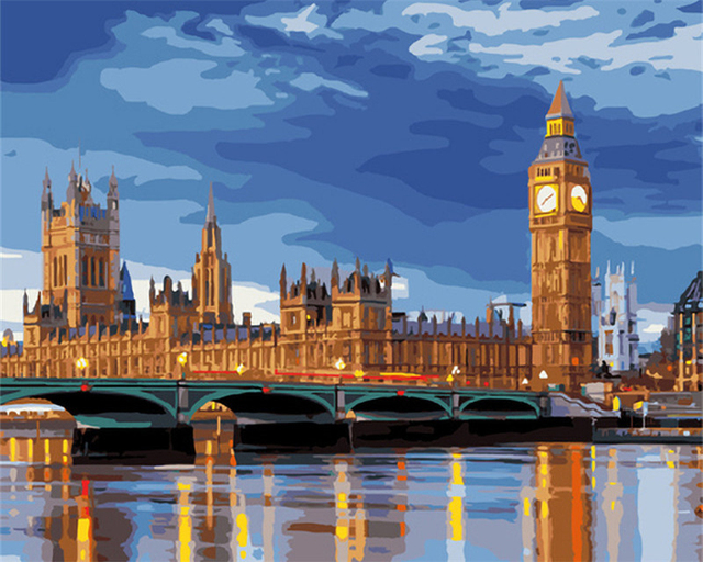 London City Scape Painting By Numbers Kit Westminster Big Ben River Thames