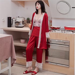Image 4 - JULYS SONG New Woman Spring Sleepwear 3 Piece Sexy Lace Faux Silk Pajamas Set Women Lace Sling Sleeveless Trousers Summer Robe