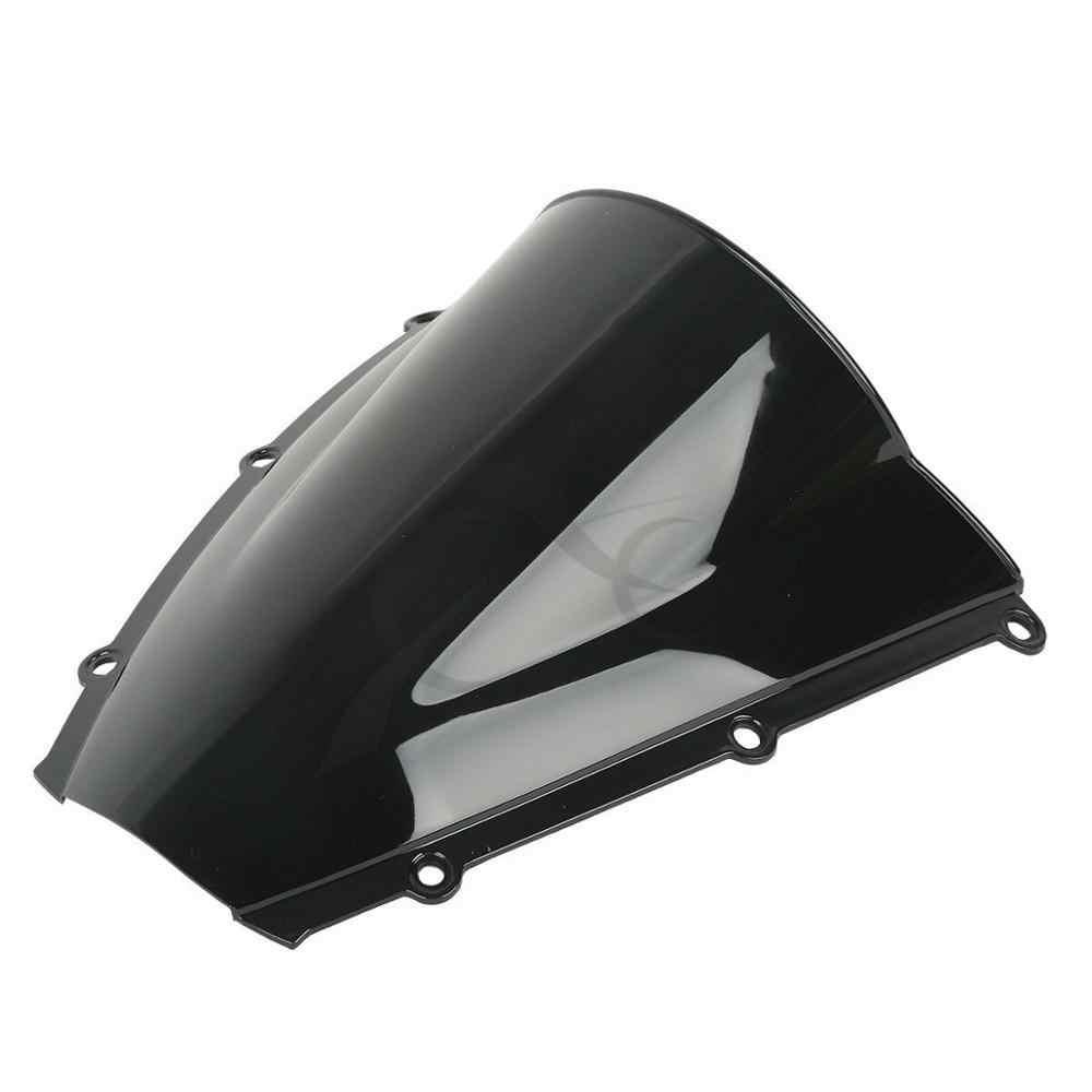 Motorcycle PMMA Dual Bubble Windshield Windscreen For Honda CBR600RR CBR 600 RR 2003 2004 Black Blue Clear Chrome