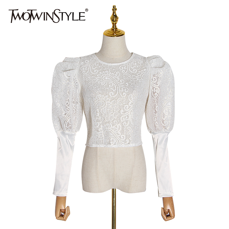 TWOTWINSTYLE Lace Patchwork Shirt Women O Neck Puff Long Sleeve Tunic Hollow Out Short Blouses Female Fashion Clothing 2020 Tide