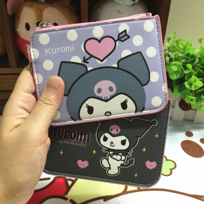 IVYYE 1PCS Kuromi Anime Card Holder PU Cartoon Credit ID Bags Zipper Coin Bus Card Wallet Kid Girls Gifts New