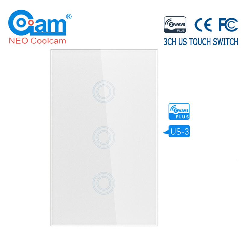 NEO COOLCAM Z-wave Plus 3CH US Wall Touch Switch Home Automation ZWave Wireless Smart Remote Control Light Switch US 908.4Mhz
