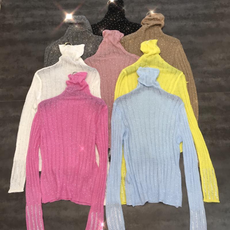 New Winter 2019 Starry Rhinestone Color High Collar Stretch Slim Sweater