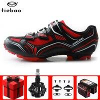 Tiebao ciclismo sapatos masculinos tênis adicionar spd pedal conjunto respirável mtb auto bloqueio atlético bicicleta de montanha tênis feminino Sapatos de ciclismo     -