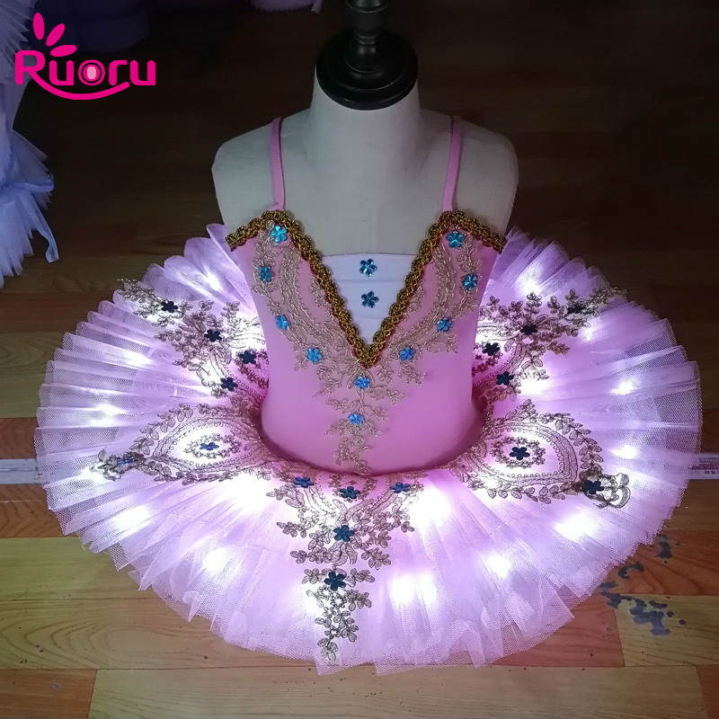 Ruoru Professional Ballet Tutu Skirt Ballerina Ballet Dress Kids Girls Adult Led Tutu Dance Costume Pancake Tutu Swan Vestido