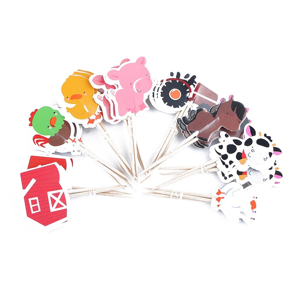 24 шт./упак. мультфильм животных ферма вечерние тема для капкейка-смешанные стили берет для детей День рождения вечерние свадебные сувениры ...