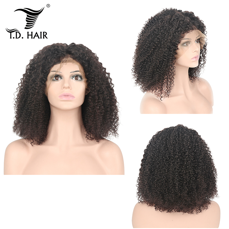 Short Kinky Curly Bob Wigs Human Hair Lace Front Wig Natural Hairline Brazilian Remy Hair 13x4 Wigs Pre-Plucked With Baby Hair