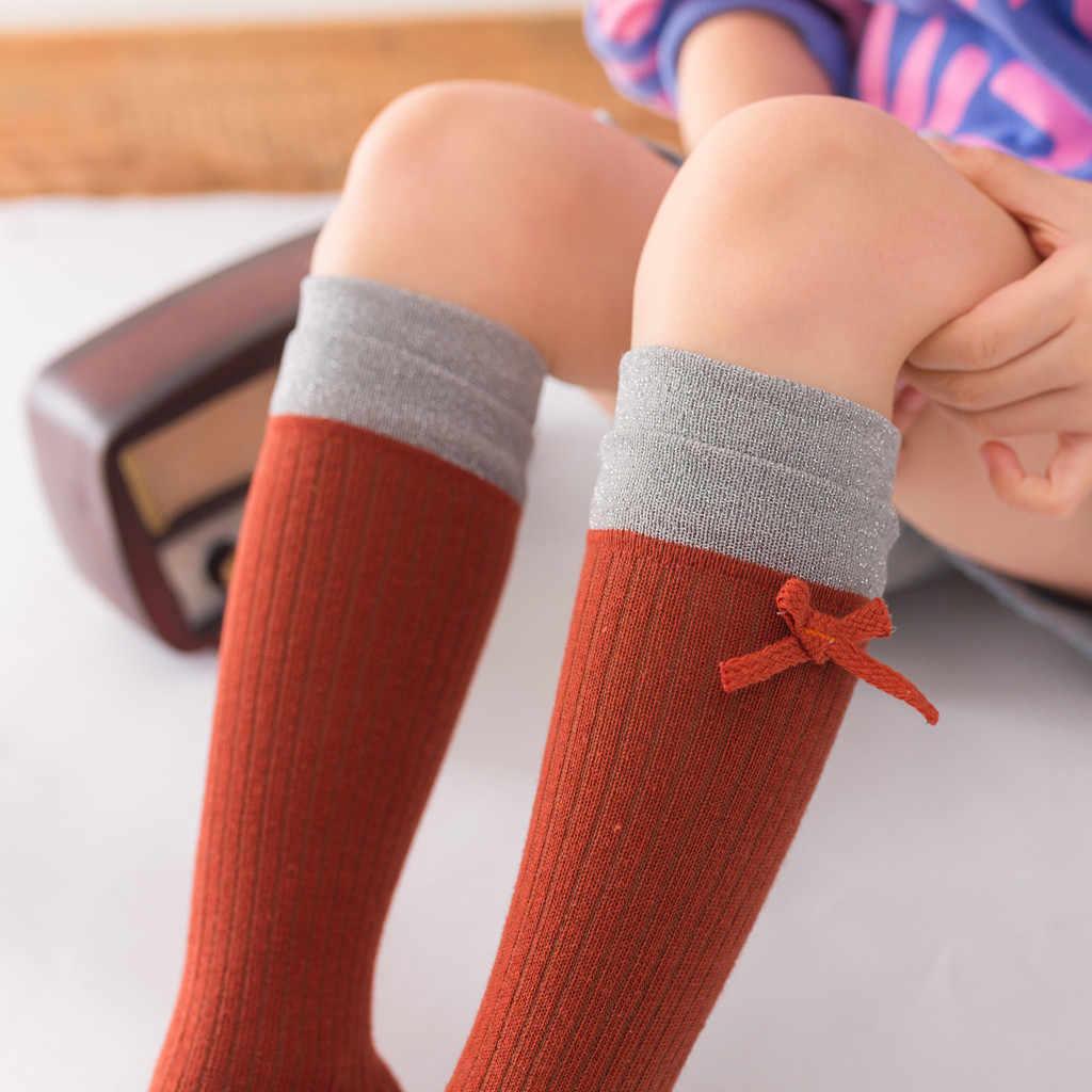 Pantimedias para niños bebé sólido antideslizante de punto de tubo largo de princesa medias para niñas medias hasta la rodilla niños danza medias color caramelo