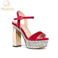 Phoentin super high heels platform sandals woman 2019 Rhinestone strappy sandal 11cm heel summer shoes velvet Red black FT767
