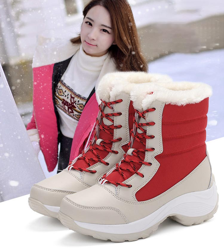 Winter boots women shoes 2019 fashion solid waterproof casual shoes woman hook&loop ankle boots warm plush snow women boots (10)