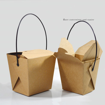 50pcs Creative kraft paper takeaway packaging cups 8oz 16oz 26oz 32oz noodles pasta dessert cake food packing container