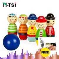 6PCS Pirates Holz Puppe Set Mini Bowling Figuren Indoor Spielzeug Kinder Ball Spaß Entwicklung Spiel Pädagogisches Spielzeug für Kinder geschenk