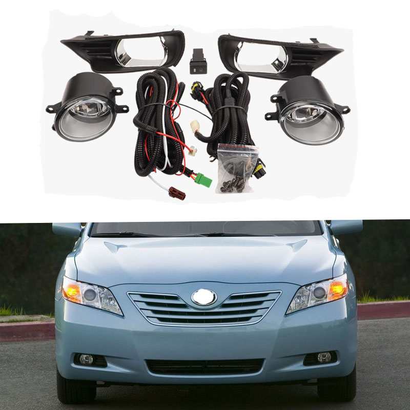 Car Fog lamp Assembly Kit For Toyota <font><b>Camry</b></font> 2007 <font><b>2008</b></font> 12V Halogen Front Bumper Car <font><b>Headlight</b></font> Bulb With Cover Switch Accessories image