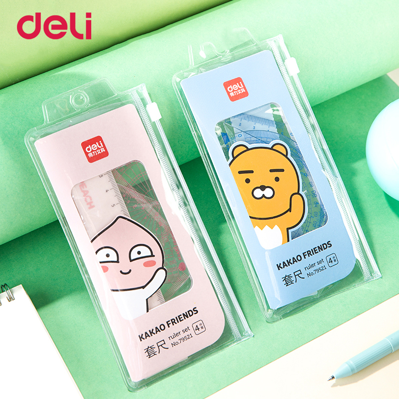 DELI Ruler Kakao Student Set Ruler Four-piece Japanese And Korean Cute Triangle Ruler Ruler With Wave