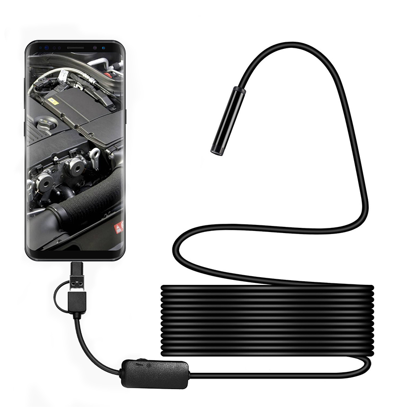 2/3.5/5/<font><b>10M</b></font> 8mm USB <font><b>Endoscope</b></font> Camera HD <font><b>1200P</b></font> Snake Camera With 8 LED IP68 Waterproof Inspection Borescope Camera for Android PC image