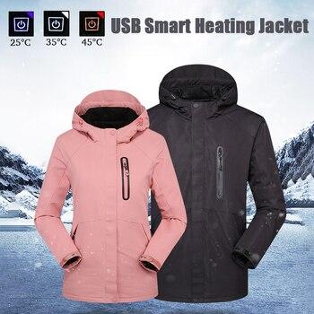 Winter Waterproof Heated Jacket Hunting Hiking Skiing Outdoor Heating Coat Women Men Windbreaker kurtka podgrzewana regenjacke